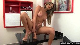 Tgirl Juliana Leal Wanks Her Stiff Cock and Crams a Big Dildo Up Her Ass
