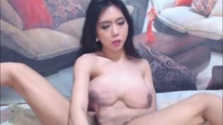Brunette Beautiful Big Tits Shemale Feels Hot and Horny hard penetration